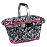 DII Insulated Market Basket or Picnic Tote, Perfect for Holidays Parties, Farmers Markets, BBQ's, Grocery Shopping, Potlucks, To Go Lunches, Craft/Dish Storage & Monogramming - Damask Black/White