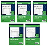 Adams Sales Order Book, 2-Part, Carbonless, White/Canary, 5-9/16 x 8-7/16 Inches, 50 Sets per Book, 5 Books, 250 Sets Total (DC5805)