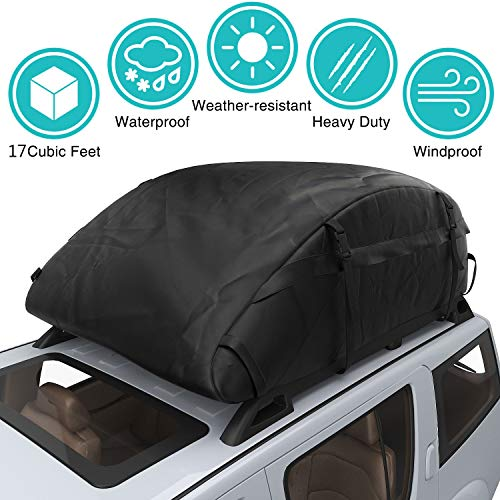 (Car Top Carrier Waterproof Rooftop Cargo Carrier Bag Includes Heavy Duty Straps for Vehicle Car Truck SUV Vans,Travel Cargo Bag Box Storage Luggage (17 Cubic Feet( 43'' x 34'' x 17'' )- Thickened))