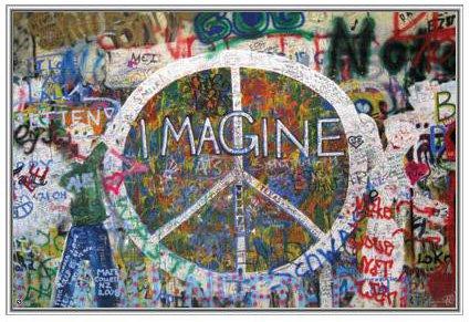 36x24 John Lennon Imagine Peace Wall Framed Poster