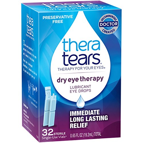TheraTears Eye Drops for Dry Eyes, Dry Eye Therapy Lubricant Eyedrops, 32 Count Single-Use Vials