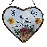 Stained Glass Heart Suncatcher For Windows Mom Heart Mother Suncatcher with Pressed Flower Heart - Heart Suncatcher Window - Mom Gifts Gift for Mother's Day
