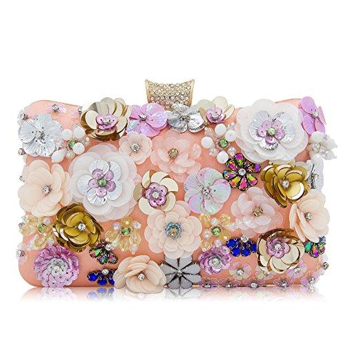 Milisente Women Clutches Colorful Flower Evening Bag Sequins Satin Evening Clutch