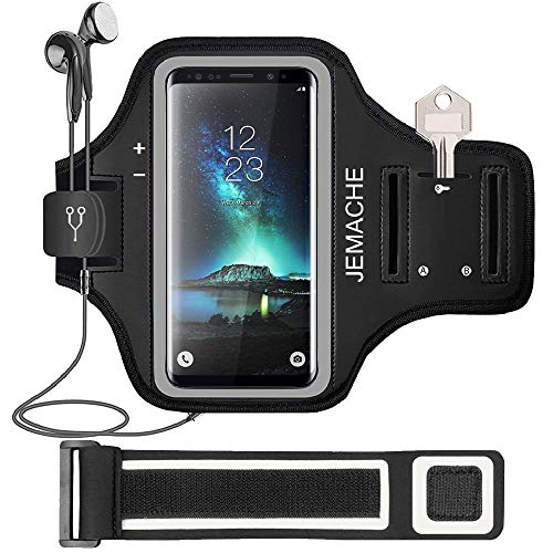 Galaxy S10/S9/S8 Armband, JEMACHE Gym Running Exercises Workouts Phone Arm Band for Samsung Galaxy S10/S9/S8/S7 Edge with Key/Card Holder (Black) Black Adjustable Sports Armband
