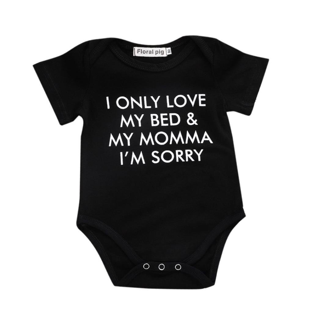 Jchen TM New Style Summer Newborn Toddler Infant Baby Boys Girls Letter Print Cute Romper Jumpsuit for 0-18 Months