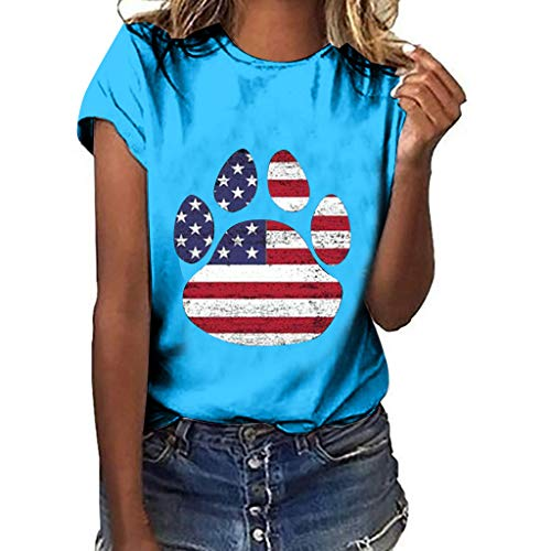 ASOBIMONO Womens Casual Loose Puppy Footprint Printed T-Shirts American Flag Graphic Tees Crewneck Plus Size Tops ()