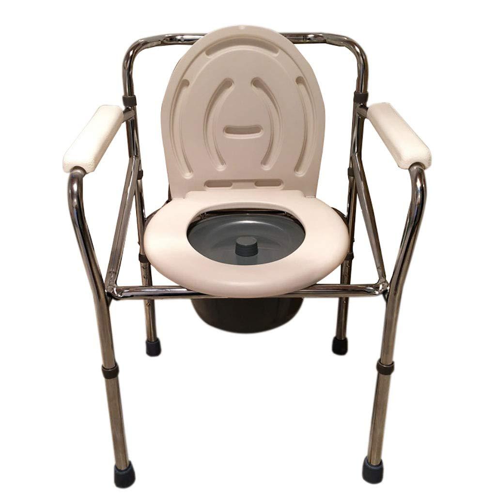 LIU UK Portable Toilet Folding Kommode Aluminiumlegierung WC-Sitz Mit Eimer HöHenverstellbar MobilitäT Behinderungshilfe Badezimmer Baden Schemel Schwangere Frauen äLtere TöPfchen Stuhl