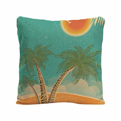 KafePross Vintage Nature Tropical Island and Sea Throw Cushion Cover Sun and Palms Home Decor Pillow Case for Car Sofa 20x20 inch print one side (Palm Side Case)