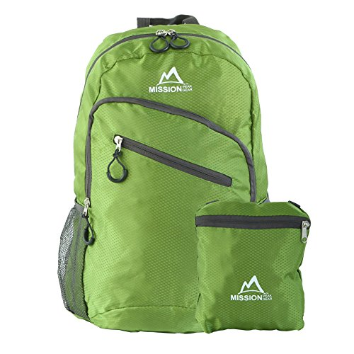 (Mission Peak Gear Lite 1800 25L Foldable Packable Hiking Backpack Daypack, Ultra Lightweight, Durable Light Backpack, Camping, Outdoor, Travel, Biking, School, Carry On Backpack (Green))