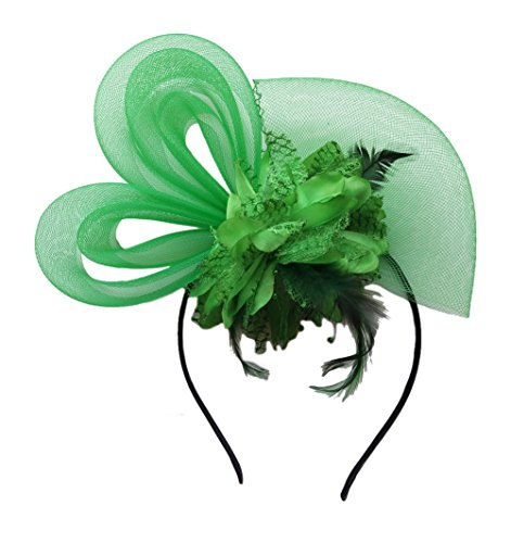 Women's Fascinators Hat Small Hairpin Feather Mesh Flower Hairclip (Green (Green Hat Pin)
