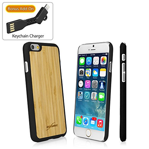 BoxWave iPhone 6 Case, [True Bamboo Minimus Case with Bonus Keychain Charger] Hand Made, Real Wood Cover for Apple iPhone 6, 6s - Jet Black