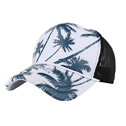 Hot Sale ! Kstare Snapback Hats,Women Men Coconut Tree Printing Baseball Cap Snapback Hip Hop Flat Hat (Blue) (Solid Dyed Cap Pigment Twill)