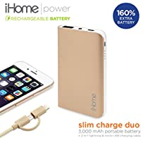iHome External Battery Portable Pack for Universal/SmartPhones - Gold