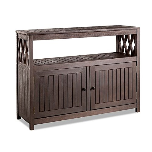 Outdoor Rustic Espresso Brown Finish Eucalyptus Wood Buffet Server Cabinet Storage Console Table Cupboard Patio Furniture (Outdoor Wood Storage Cabinet)