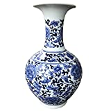 Goodman and Wife Classic Blue and White Floral Traditional Porcelain Decorative Vase