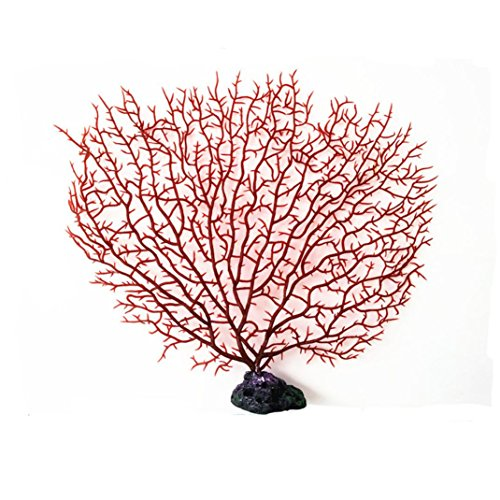 Binmer(TM) Aquarium Fish Tank Plants Decorative Plastic Imitation Resin Coral Decoration (M, red)