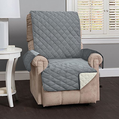 Leather Deluxe Recliner (Deluxe Reversible Quilted Furniture Protector. Two Fresh Looks in One. By Home Fashion Designs Brand. (Recliner - Charcoal / Beige), 79