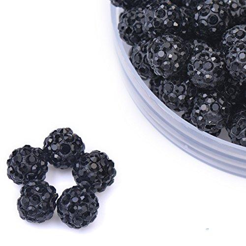 iCherry(TM) 10mm 100pcs/Lot Black Clay Pave Disco Ball for Rhinestone Crystal Shamballa Beads Charms Jewelry Makings
