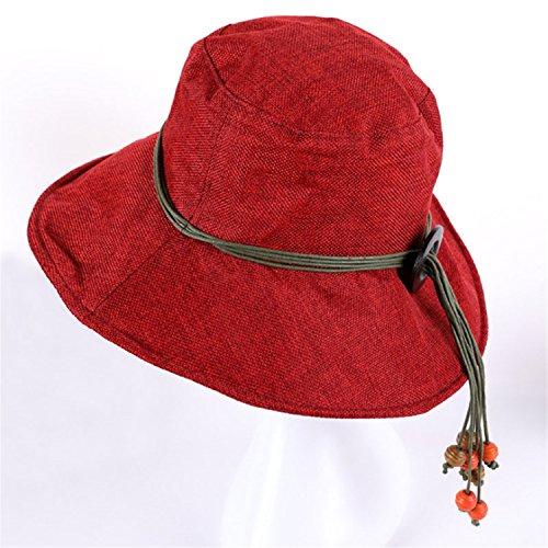 Madehappy New Women's Cotton Linen Sun Hats Summer Beach Hat Caps 12 Solid Colors Z-5189 Wine ()