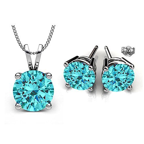 Swarovski Crystals March Birthstone Aquamarine Stud Pendant & Earrings Set (Birthstone Jewelry Sets For Women)
