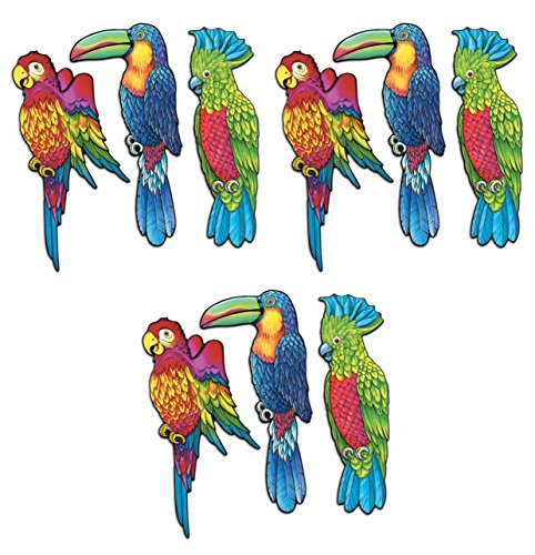 - Beistle S55926AZ3, 9 Piece Exotic Bird Cutouts, 17