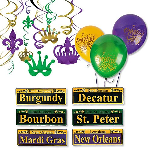 FAKKOS Design Mardi Gras Party Supplies Decoration Kit Includes Balloons, Street Signs, Hanging -