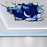 Clearance! Napoo 3D Bridge Floor Sky Removable PVC Wall Stickers Decoration Living Room 60 X 90cm