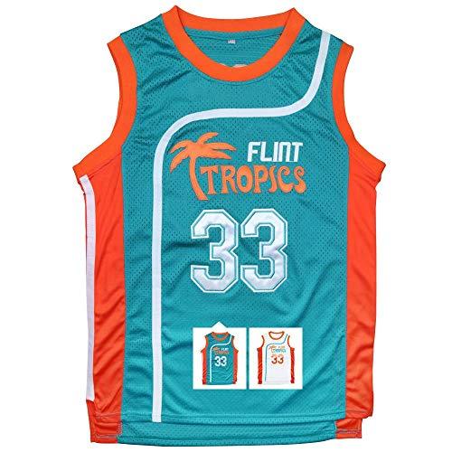 Yeee JPEglN Moon 33 Flint Tropics Basketball Men Jersey S-XXXL Green (Green, S) -