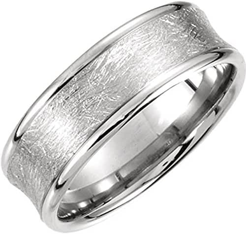 Palladium 7.5mm Fancy Carved Band, Size 10