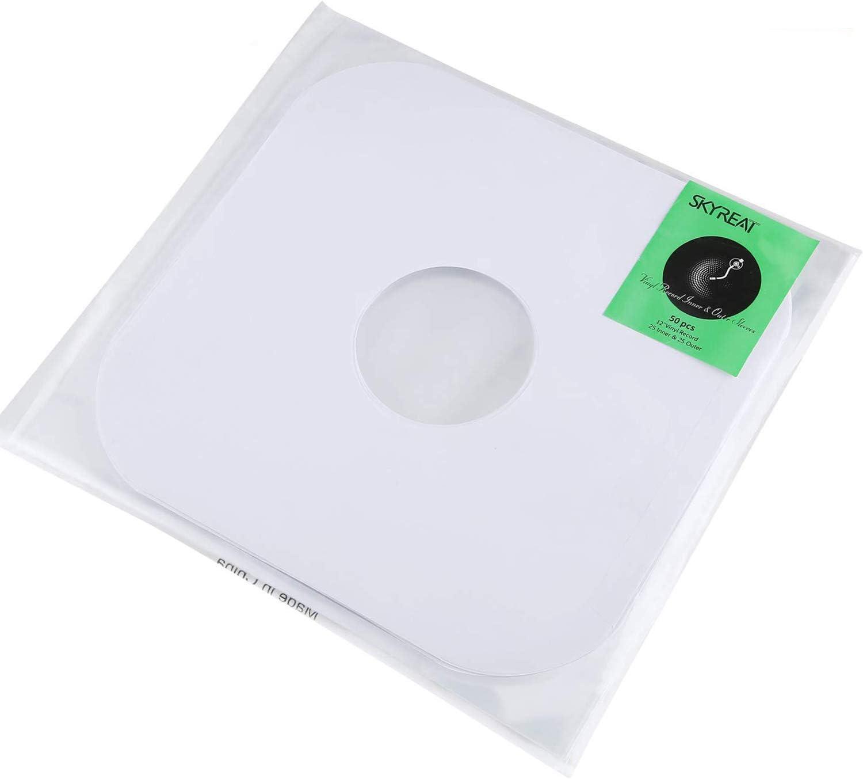 S/äurefreie H/üllen f/ür Sammler f/ür 12-Album-LP Kristallklare Skyreat 50 Premium Schallplattenh/üllen-Kit Vinyl Record Sleeves 25 Innen und 25 Au/ßenh/üllen