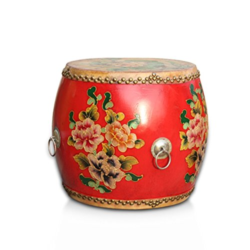 Vanity Classical (ch-AIR Stool Antique Cowhide Wooden Drum Stool Craft Porcelain Shoe Bench Home Decoration Hand-Painted Table Pier Sofa Foot Leisure Tea Stool Classical Dressing Stool 0612A)
