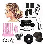 1Set 14 Different Styles Professional Hair Styling Tools-Hair Volume Bump it Up Hair Tie Hair Pin Hair Clip Bun Maker Pull Hair Needle Donut Braiding Tool Kit(1)