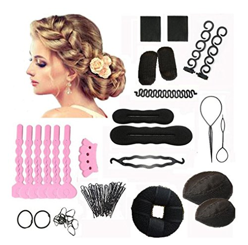 1Set 14 Different Styles Professional Hair Styling Tools-Hair Volume Bump it Up Hair Tie Hair Pin Hair Clip Bun Maker Pull Hair Needle Donut Braiding Tool Kit(1) by Elandy