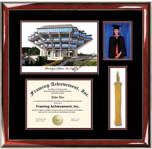 amazoncom university of california san diego ucsd lithograph diploma frame with graduation tassel box and 4 x 6 photo window premium wood glossy