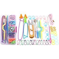 Knitting Tools Accessories - LeBeila Crochet Basics Knit Kit Lots Sewing Supplies with Measuring Tape, Stitch Markers, Snipper, Stitch Holders, Needles & More in Storage Case (Purple red)