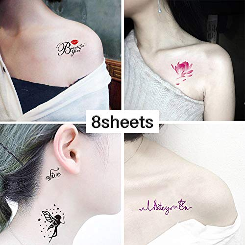 Inspirational Temporary Tattoos - 8 sheets Words Lines Flowers Leaves, Artworks for Kids, Adults, Women and Men Ink Box Tattoo Stickers Waterproofing (style7)