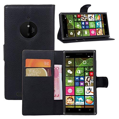 Premium Leather Wallet [ Flip Bracket & Stand ] Case Cover for Nokia Lumia 830 (Wallet - Black) (Phone Cover For Nokia Lumia 830)