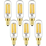 LEOOLS T6 LED Bulb, 60W Candelabra Dimmable Chandelier Light Bulbs 2700K Warm White Clear 600lm 6W E12 Vintage LED Filament Edison Candle Bulb with Decorative 6Pack