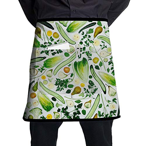 Kjiurhfyheuij Half Short Aprons Fruits-a Green Smoothie Design-a-1 1420450012459 Waist Apron with Pockets Kitchen Restaurant for Women Men Server
