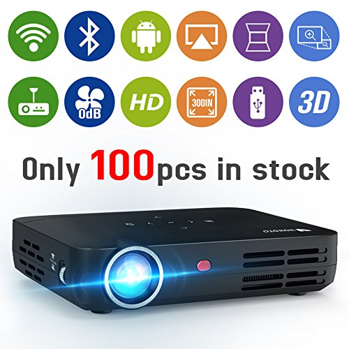 WOWOTO H8 Video Projector DLP LED 1280x800 WXGA WiFi Bluetooth HD 3D Support 1080P Android OS Super Silent Built-in Speaker Work with Android iPhone iPad Mac Laptop DVD Amazon Fire Stick Roku Xbox PS4