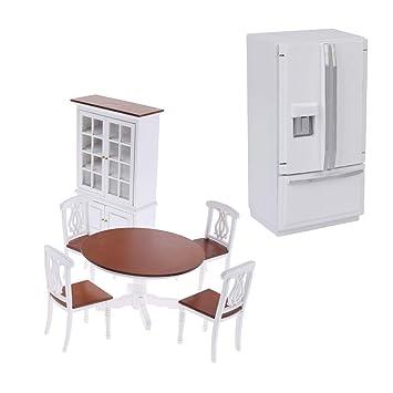 Amazon.es: D DOLITY Muebles de Mesa Juego de Armarios y Nevera ...