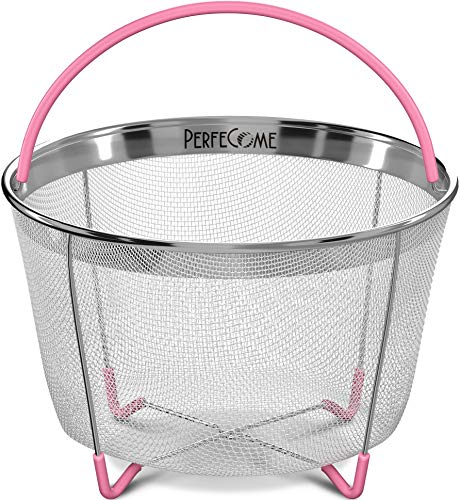 (Vegetable Steamer Basket for 6 and 8 qt Instant Pot Accessories - Stainless Steel Strainer Fits InstaPot Pressure Cooker - Veggie and Egg Mesh Basket Set with Silicone Handle and Non-Slip Legs)