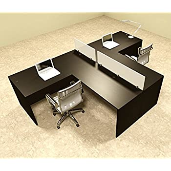 Two Person L Shaped Divider Office Workstation Desk Set, OT SUL SP44
