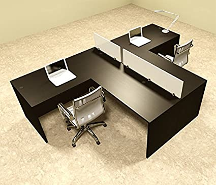 Amazon Com Two Person L Shaped Divider Office Workstation Desk Set