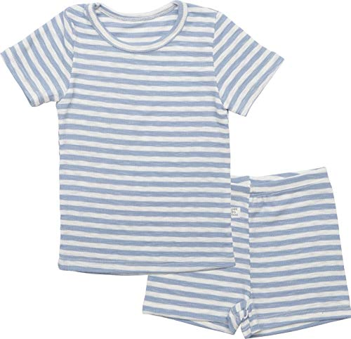 AVAUMA Pippi Style Newborn Baby Little Boy Girl Stripe Pajamas Summer Short Sleeve Sets Pjs Kids Clothes (L/Sky) ()