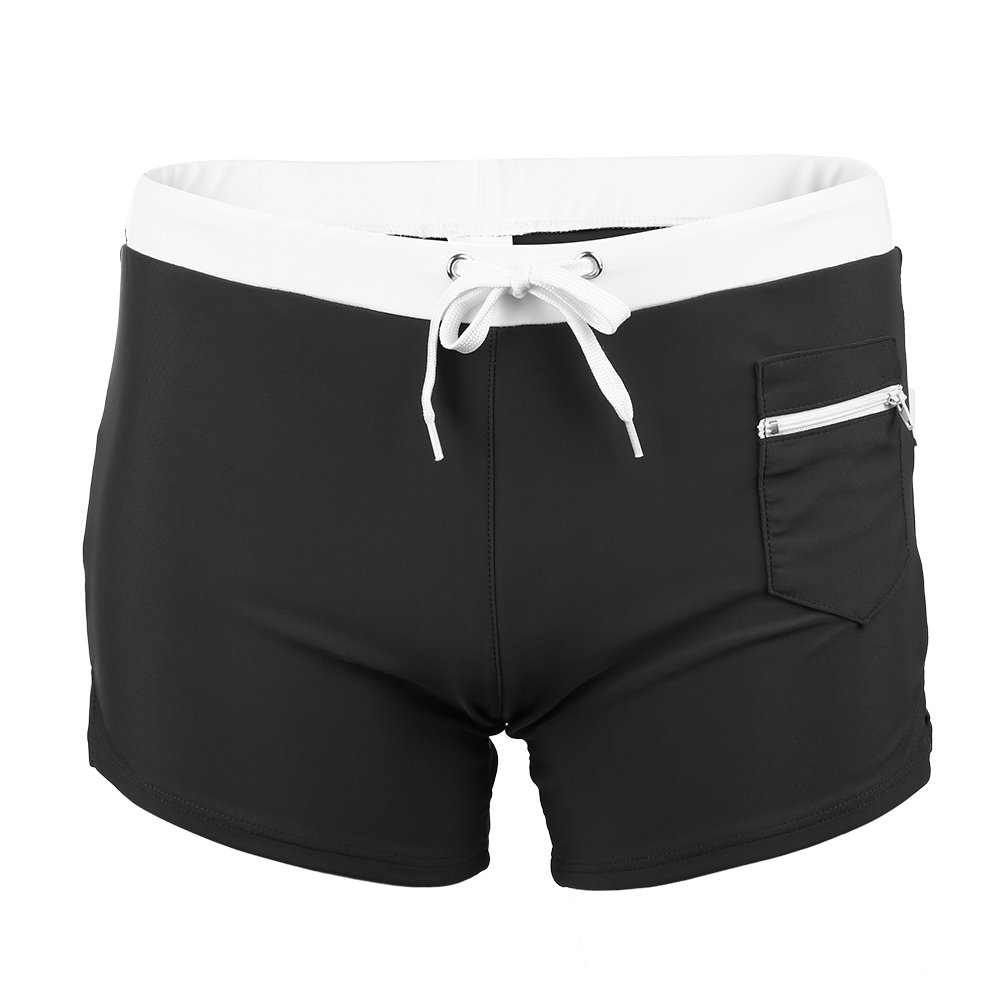 FITIBEST Men Fashion Swim Trunk Swim Shorts Elastic Gym Shorts Moisture-Wicking with Zipper Pocket (Black, Asia XXL(US L))