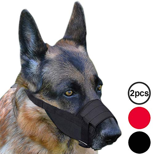 Adjustable Muzzle - CollarDirect Adjustable Dog Muzzle Small Medium Large Dogs Set 2PCS Soft Breathable Nylon Mask Safety Dog Mouth Cover Anti Biting Barking Pet Muzzles Dogs Black Red (M/L, 1Black & 1Red)