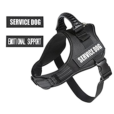 "PawShoppie Real Reflective Service Dog Vest Harness with 2 Free Removable ""SERVICE DOG"" and 2 ""EMOTIONAL SUPPORT'' Patches, Woven Polyester & Nylon, Comfy Soft Padding(Black)"