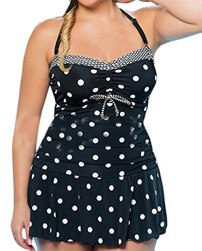 Polka Dot Miracle Suit - Miracle Women's Polka Dot Halter Neck Fashional One Piece Set Beach Wear Oversized Stretchy Bikini Black XL