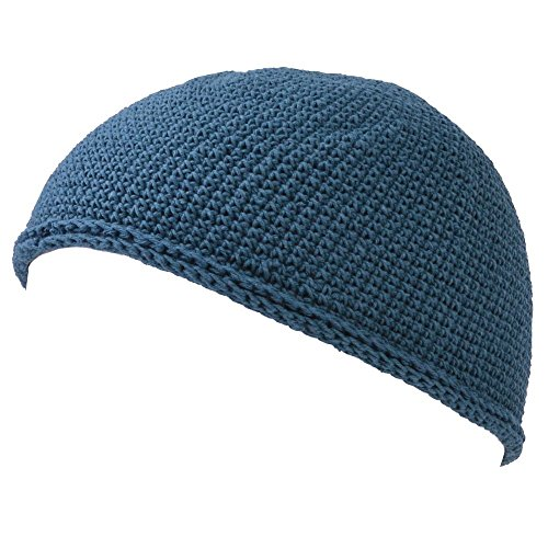 Kufi Hat Mens Beanie - Men Cotton Skull Cap Hand Made 2 Sizes Islam Blue L